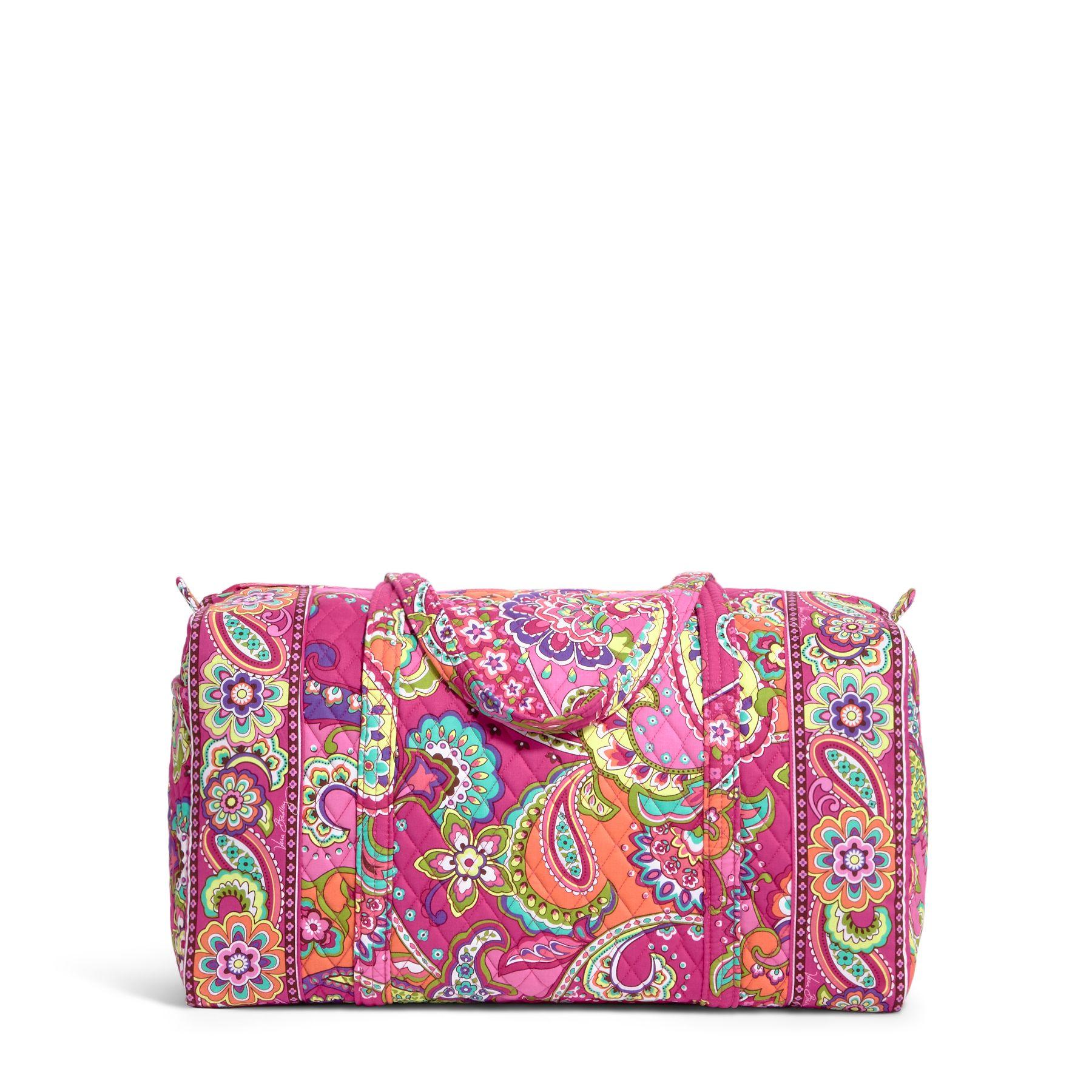 Vera Bradley Large Duffel Travel Bag in Pink Swirls