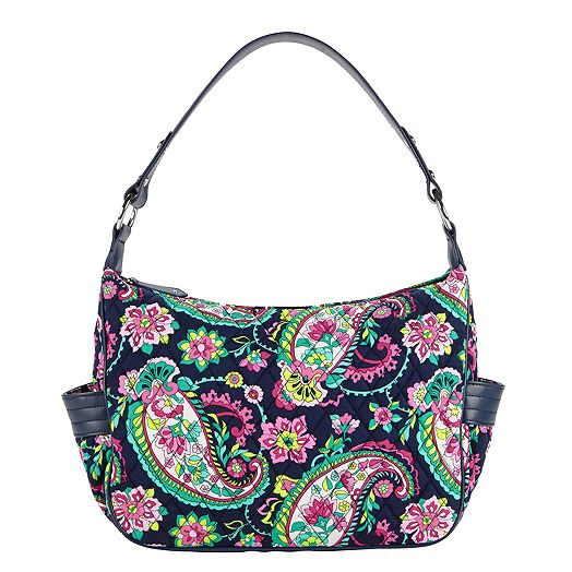 City Shoulder Bag in Petal Paisley with Navy Trim