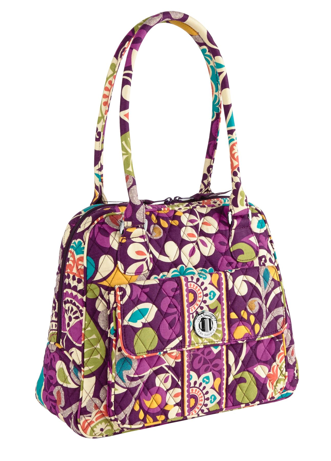Vera Bradley Turn Lock Satchel in Plum Crazy