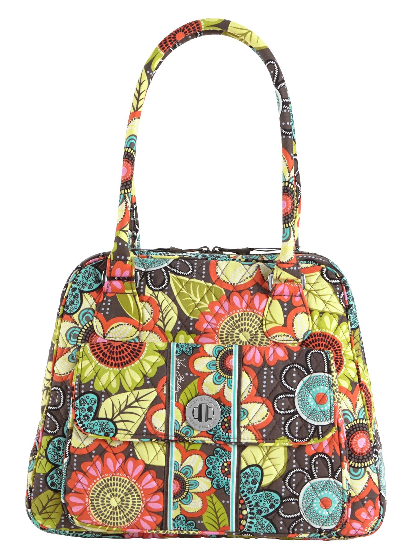 Vera Bradley Turn Lock Satchel in Flower Shower