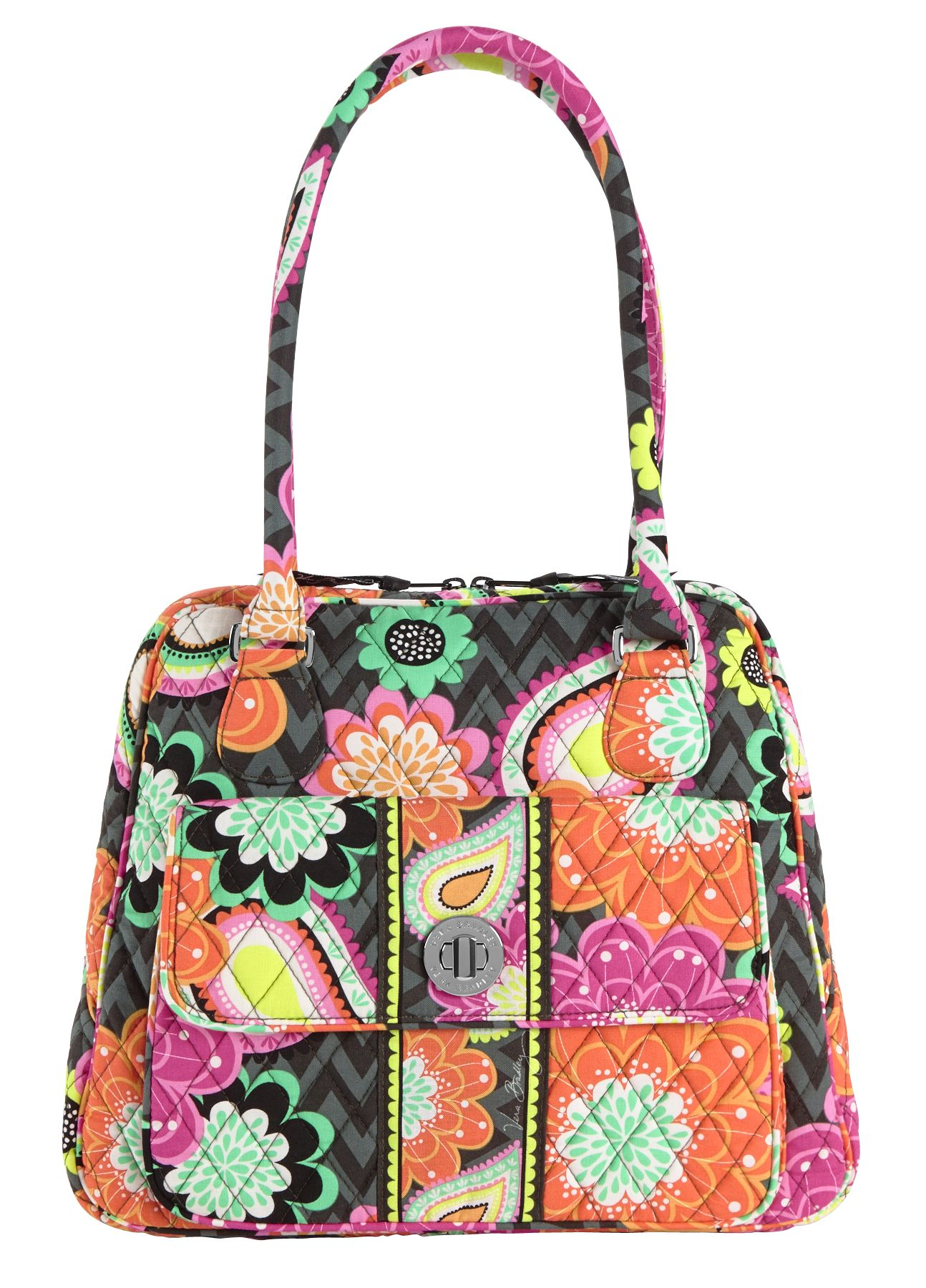 Vera Bradley Turn Lock Satchel in Ziggy Zinnia