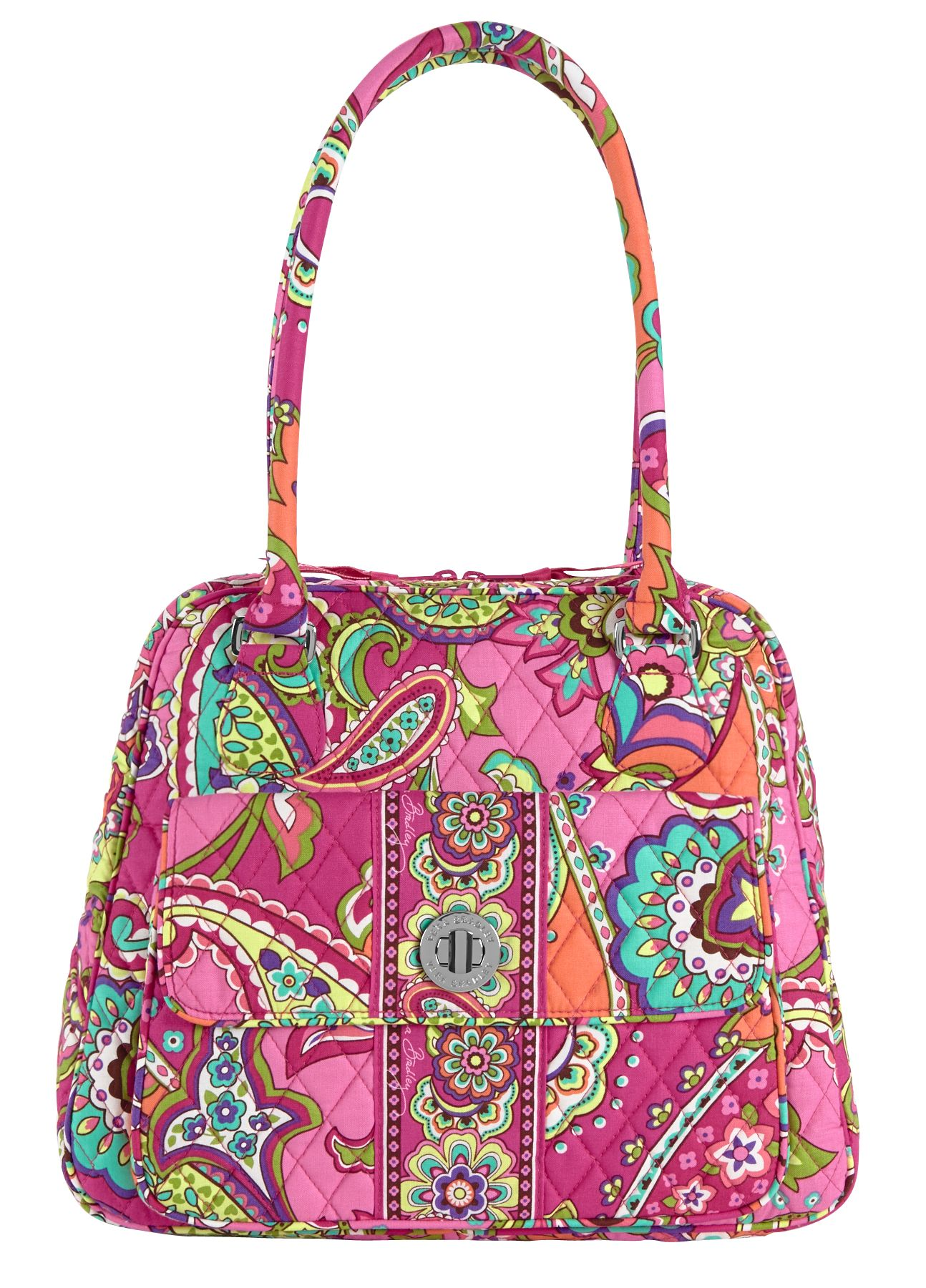 Vera Bradley Turn Lock Satchel in Pink Swirls