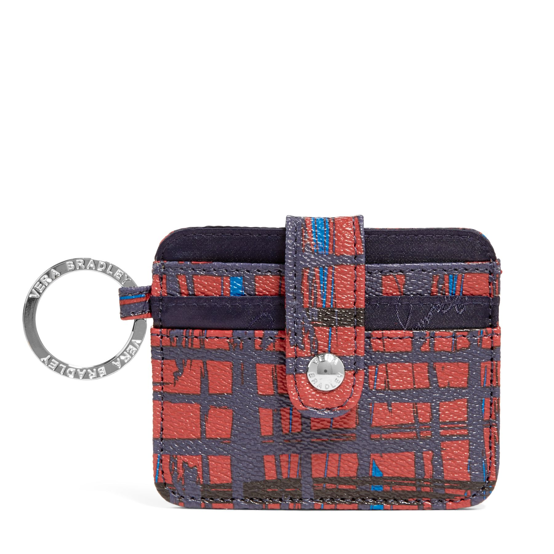 Vera Bradley In a Snap Card Case in Navy/Red Art Plaid