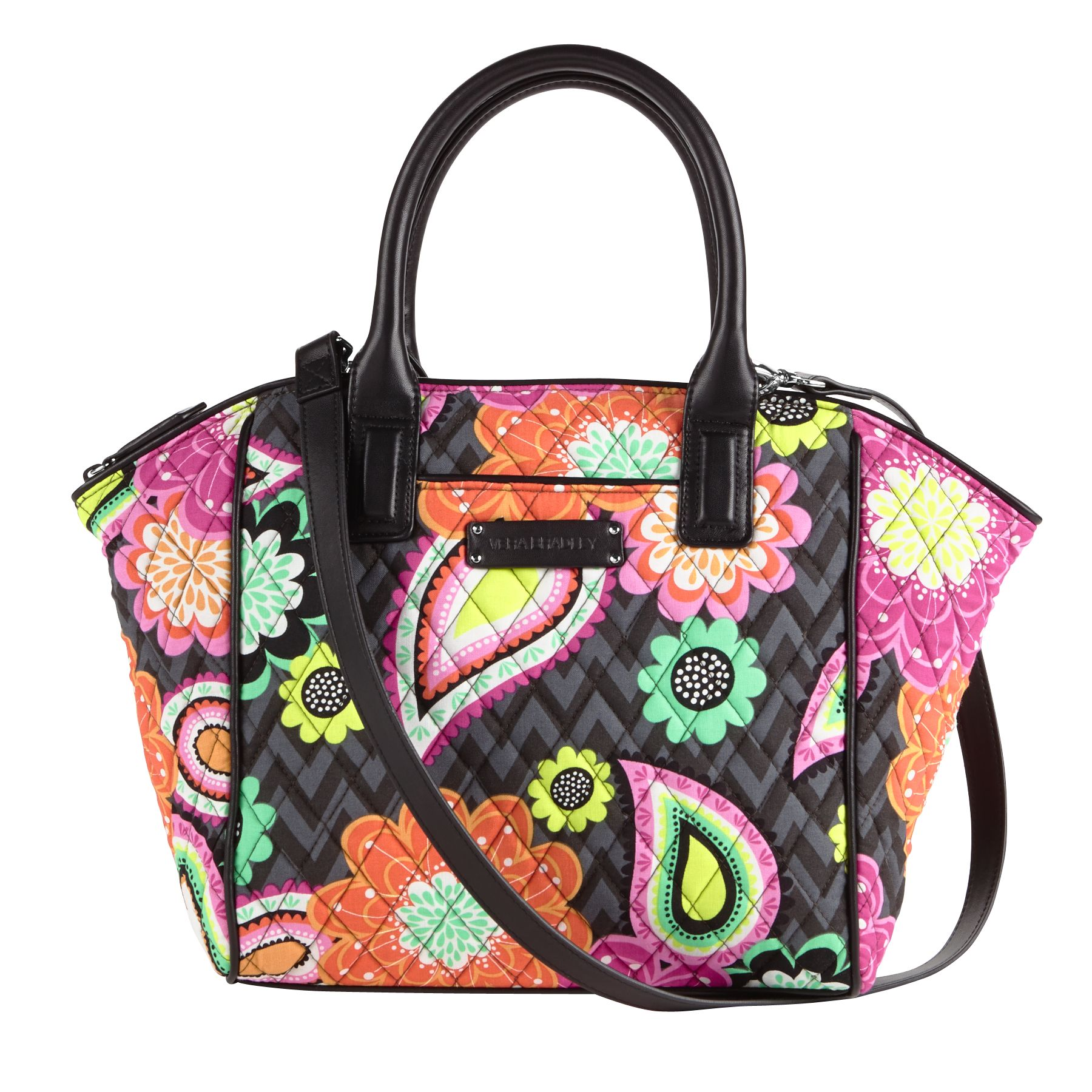 Vera Bradley Trimmed Satchel in Ziggy Zinnia with Black Trim