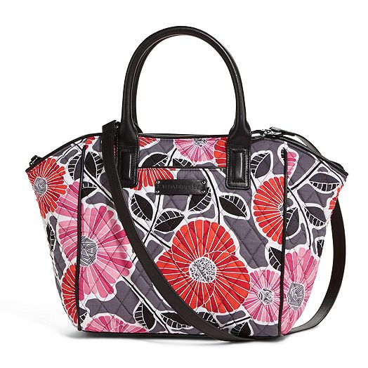 Trimmed Satchel in Cheery Blossoms with Black Trim