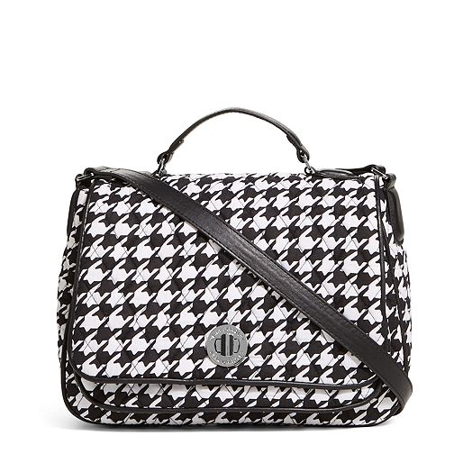Turnlock Crossbody in Midnight Houndstooth with Black Trim