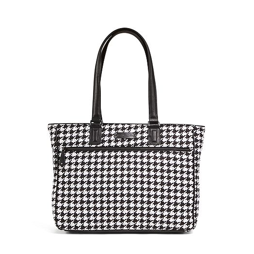 Work Tote in Midnight Houndstooth with Black Trim