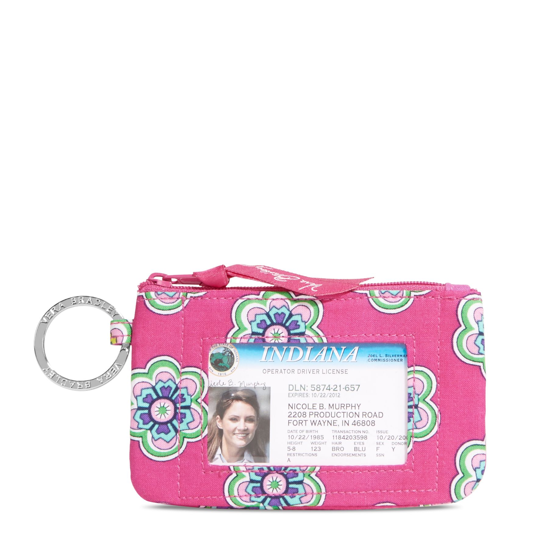 Vera Bradley Zip ID Case in Pink Swirls Flowers