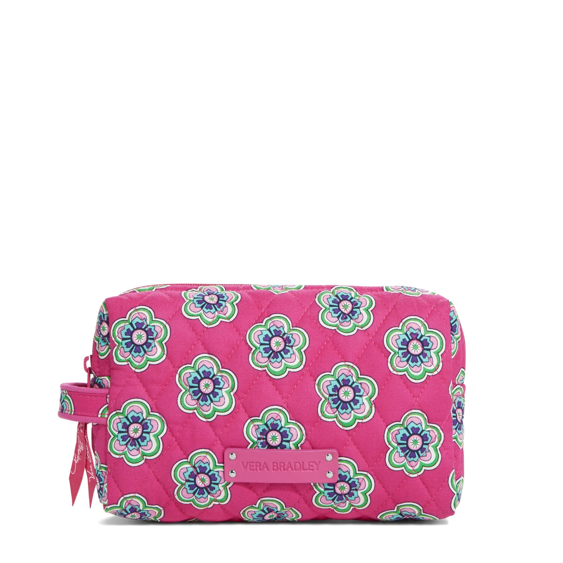 Vera Bradley Medium Cosmetic in Pink Swirls Flowers
