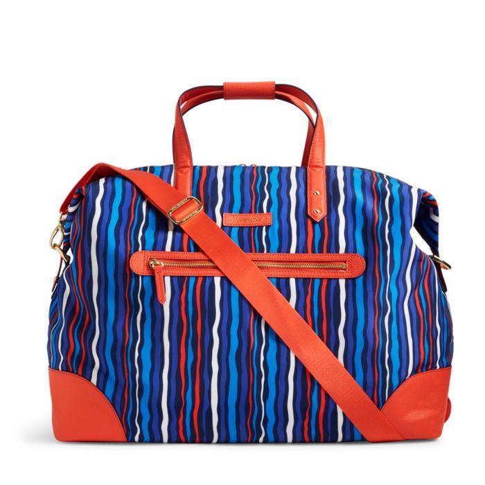 Image of Preppy Poly Travel Duffel Bag in Preppy Poly Cobalt Stripe