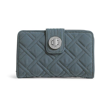 Turn Lock Wallet in Vera Vera Charcoal with Gray Trim
