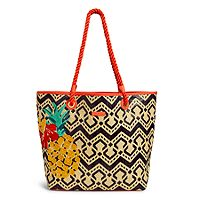Straw Beach Tote in Navy Chevron