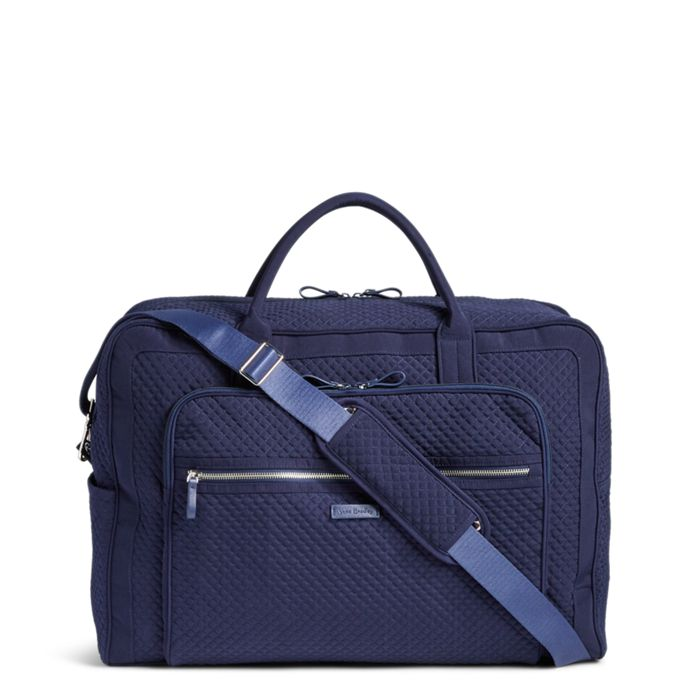 Image Of Iconic Grand Weekender Travel Bag In Microfiber Classic Navy