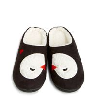 Cozy Slippers in Playful Penguins Gray