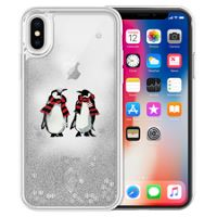 Glitter Flurry Case for iPhone X in Playful Penguins Gray