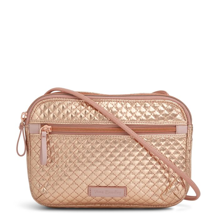 Image Of Iconic Rfid Little Crossbody In Rose Gold Shimmer