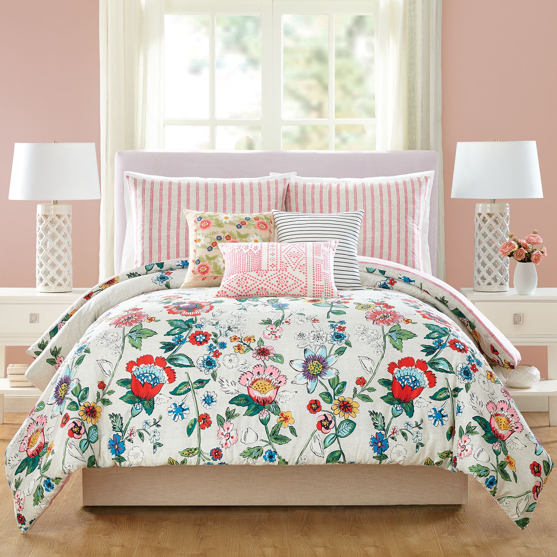 Image Of Coral Floral Comforter Set Twin/Twin XL In Pink