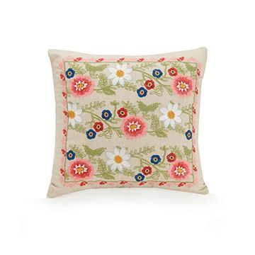 Coral Floral Pillow