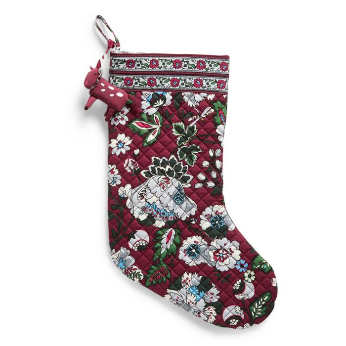 Image of Holiday Stocking and Ornament Set in Bordeaux Blooms - Holiday Stocking And Ornament Set Vera Bradley