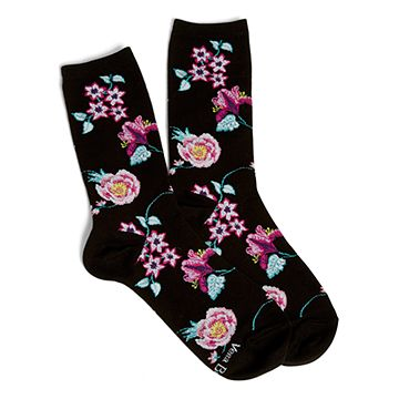 Vines Floral Patterned Crew Socks