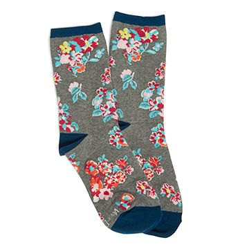 Tossed Posies Patterned Crew Socks