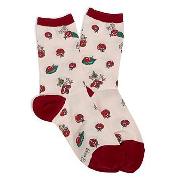 Lady Bug Patterned Crew Socks