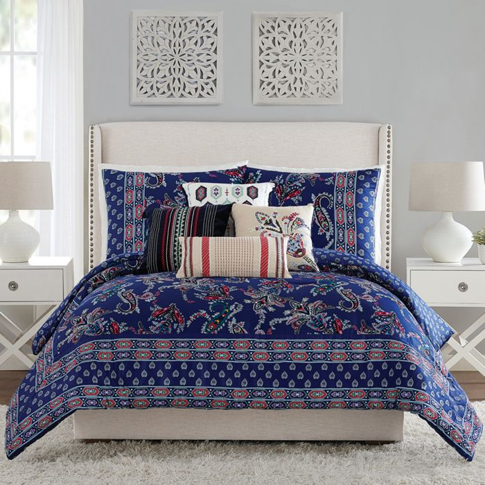 Image Of Paisley Comforter Set In Gage Blue