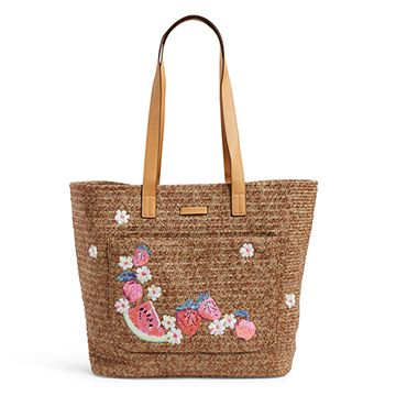 Front Pocket Straw Tote Bag